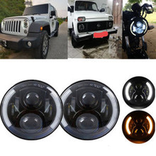 2Psc 7inch LED Headlight Head light lamps with Halo Angel Eyes For Lada 4x4 urban Niva Jeep JK Land Rover Defender Hummer hjyueng for lada 4x4 urban niva 7 black led h4 headlight daymaker lamps headlamp for jeep wrangler jk tj lj land rover defender