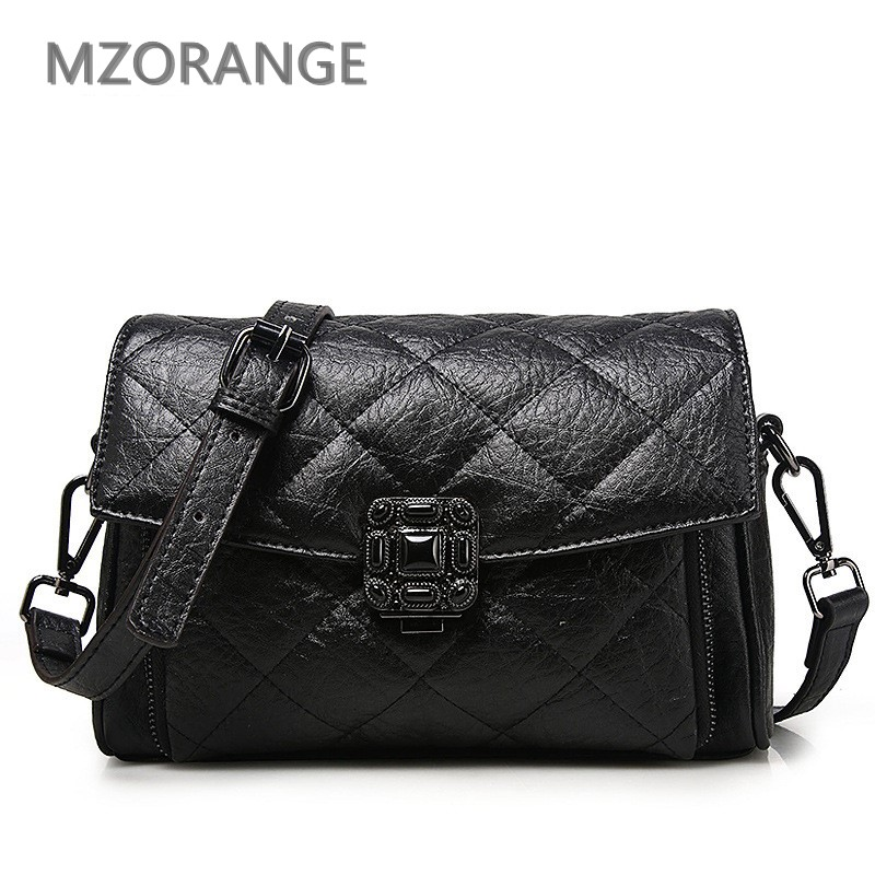 MZORANGE2018 Retro Flap bag Genuine leather Women Quilted Diamond Lattice handbag Shoulder Bag Lingge fashion Lady Messenger Bag women shoulder bag cossbody handbag genuine first layer of cow leather 2017 korean diamond lattice chain women messenger bag