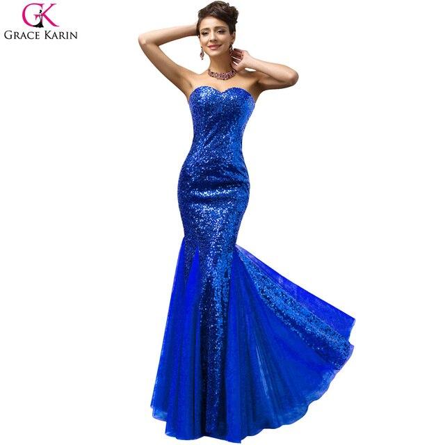 Blue mermaid prom dress sparkly grace karin lila kleider pailletten ...