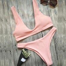 Sexy Women Solid Bikini Set Low Waist Crochet Strappy Biquini Bathing Suit Summer Beach Wear B2Cshop