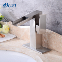 DUZI Waterfall Water Mixer Nickel Brushed Waterfall Bathroom Faucet Cold And Hot Sink Faucet Hole Cover