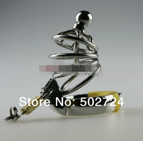 Stainless steel male chastity lockable  cock cage  penis cage with catheters  sounds stainless steel male chastity