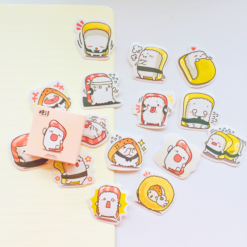 45PCS /Box Happy Sushi Paper Adhesive Label Stickers Hand Account Decoration Stickers