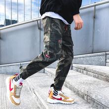 Męskie spodnie na co dzień biegaczy z polaru wojskowy kamuflaż hip-hop high street spodnie streetwear pantalon homme ciepłe spodnie zimowe pluszowe tanie tanio Pełnej długości Mężczyźni Cargo pants skinny COTTON Kostki długości spodnie Heavyweight Mieszkanie Suknem Sznurek