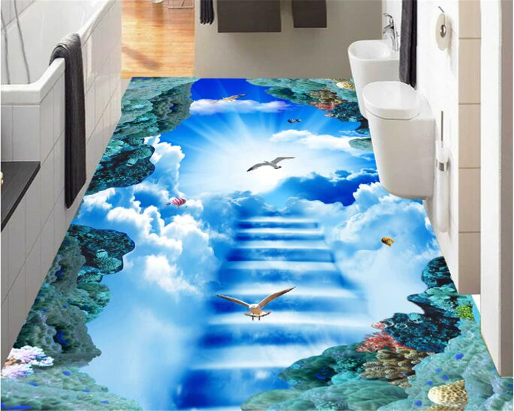 где купить beibehang Fashion beautiful clouds in the sky the sun dove ladder stereo PVC 3d flooring paint papel de parede 3d wallpaper по лучшей цене