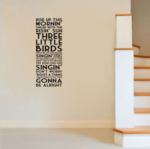 G269 Bob Marley Three Little Birds Song Lyrics Quote Vinyl Wall Decal Decor  Sticker Decorative Art Of Living Room Wall Stickers In Wall Stickers From  Home ...