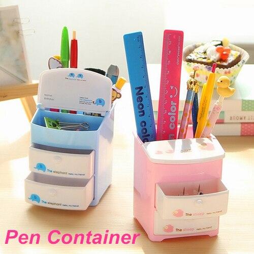 Mini Plastic Pen Holder Two Layer Drawer Pencil Holder