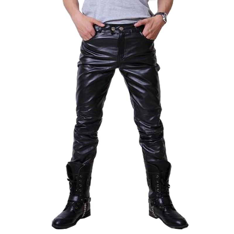 2016 Hip Hop Herren Lederhosen Faux Leder Pu-material 3 Farben Motorrad Dünne Faux Leder Casual Hosen