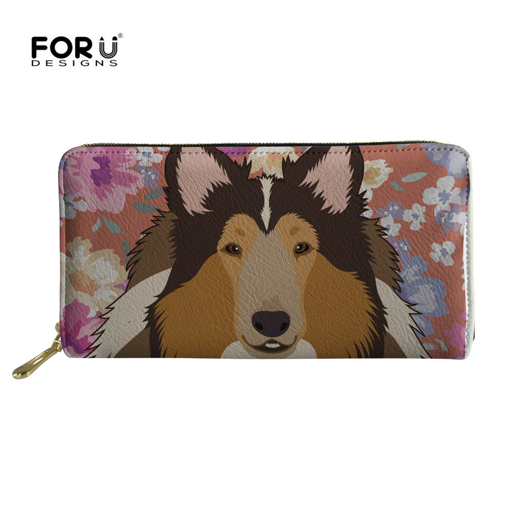 FORUDESIGNS Long Wallet Bag For Women 2018 Australian Cattle Dog Floral Cream Clutch Purse Small Travel Card Bags Carteras Mujer
