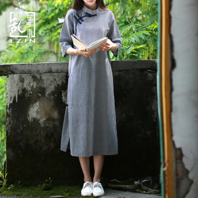 LZJN Traditional Chinese Dress For Women 2020 Summer Midi Dress Half Sleeve Modern Plaid Cheongsam Oriental Qipao Vintage Robe