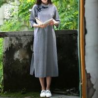 LZJN Traditional Chinese Dress for Women 2018 Summer Midi Dress Half Sleeve Modern Plaid Cheongsam Oriental Qipao Vintage Robe