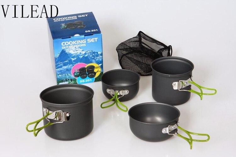 VILEAD 4 pçs/set Talheres para 2-3 Pessoa Camping Caminhadas Ao Ar Livre Panelas Cozinhar Picnic Bacia Pot Set para Viajar partido do CHURRASCO