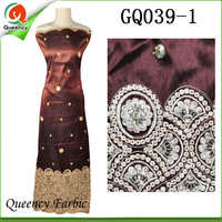 2017 GQ039 Queency Curious Raw Silk Embroidery George African Fabric Wholesale From India For 5 Yards