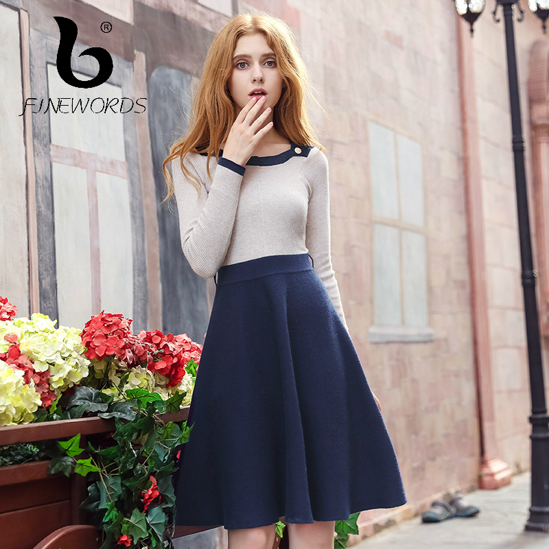 FINEWORDS 2017 vestidos Winter Fashion O-neck Slim Knit Christmas Dress Vintage Long Sleeve A-Line Elegant Party Sweater Dresses