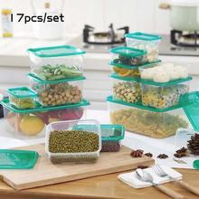 17 шт./компл. Пластик Еда коробка для хранения Кухня запечатаны четкими зерна бак сохранение поле контейнер холодильник снэк-организатор