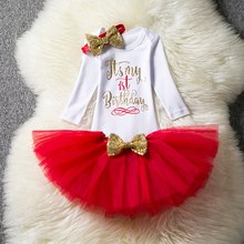 It is My 1st Birthday Toddler Girls Dresses Long Sleeve Dresses For Spring Autumn Girls Birthday Party Set Baby Girl Romper