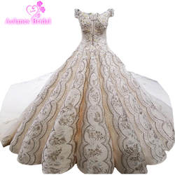 2018 Роскошные арабский Шампанское Кружева без рукавов с v-образным вырезом длинным шлейфом платье невесты на шнуровке волны бальное платье