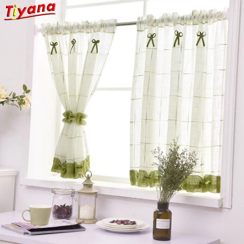 Purple Short Curtain Drape Green Curtain Tulle For Girls' Bedroom Kids' Window Decoration Treatment Plaid Curtain DL013 *30