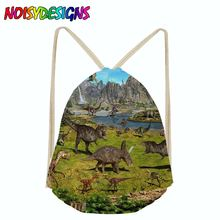 Noisydesigns Dinosaurs Animals Women Drawstring Bag Small Casual Girl kid String Backpack Shoe Clothe Package mochilas