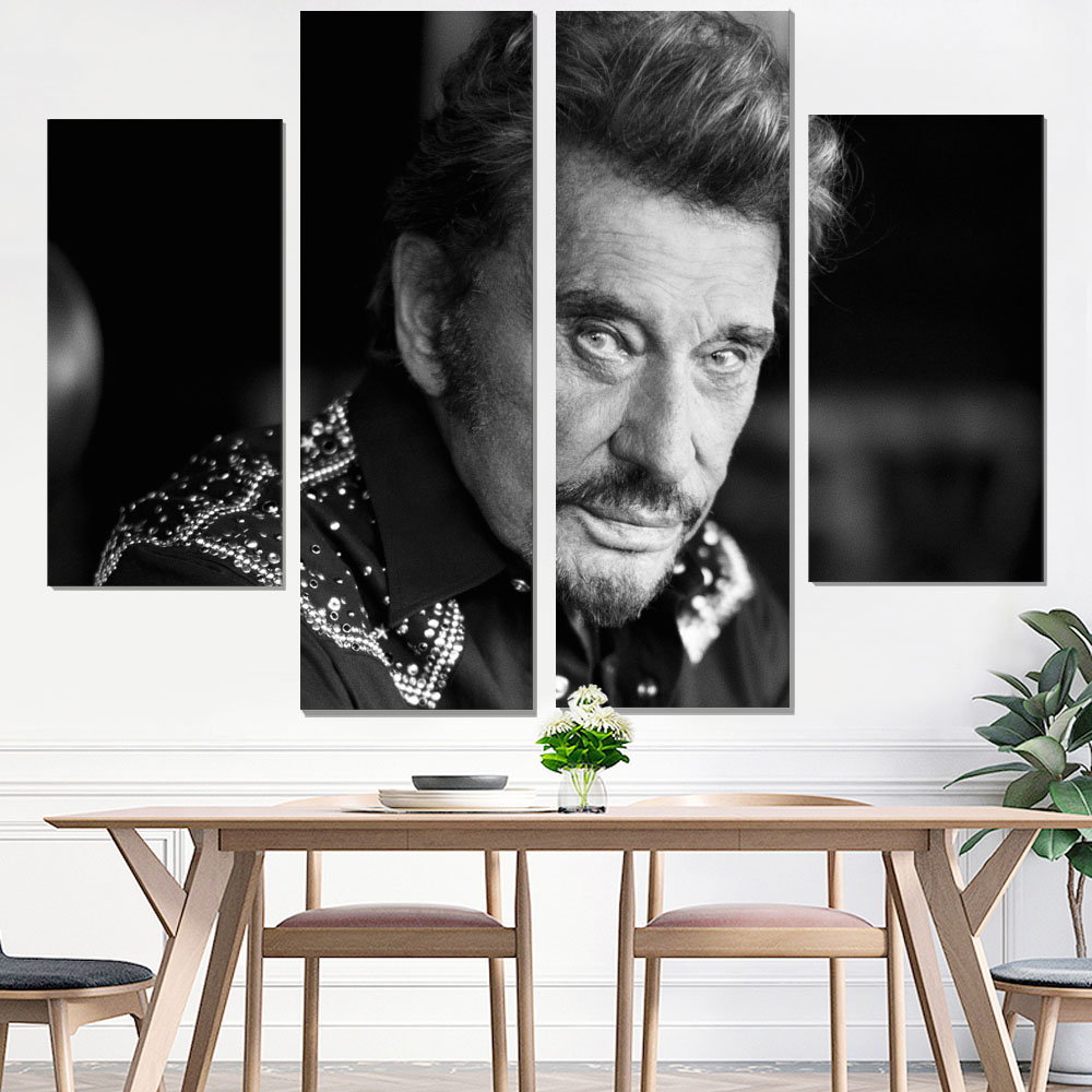 canvas painting johnny hallyday poster vintage & calligraphy camera instant print giclee