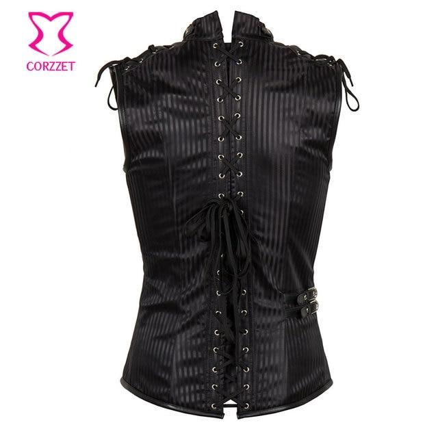 Corzzet Black Striped Stand Collar Sleeveless Mens Steampunk Jacket Plus Size Gothic Mens Corset Vest Burlesque Costume Clothing