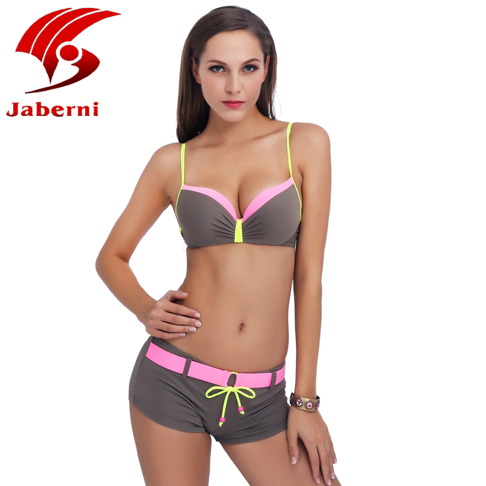 JABERNI Bikini 2017 Push Up Sexy Swimwear Halter Top Bottom Women Swimsuit Bikini Shorts Beach Bathing