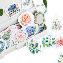 46pcs/pack green plants series paper stickers  DIY decorative scrapbooking sticky for diary album gifts label