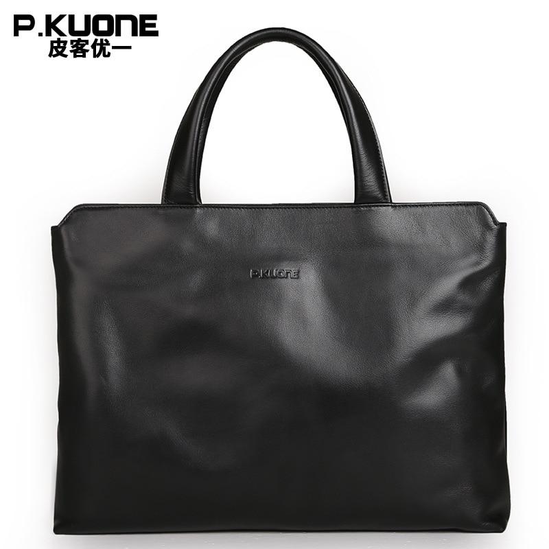 P.KUONE äkta läder bärbar dator väska nya mode män portfölj - Handväskor