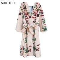 SHILO GO Fur Coat Womens Winter Fashion whole real Mink Fur long coat hooded collar luxury flower leaves print belt skirt coat