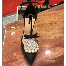Kmeioo Elegant Pearl Sandals Wedding Shoes Woman Crystal High Heels Pointed Toe Thin Heels Butterfly-knot Stiletto Ankle Strap faux pearl pointed toe stiletto heels