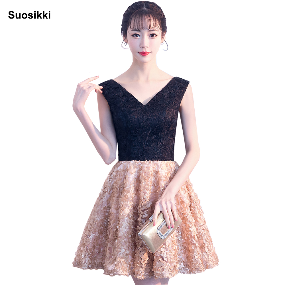 Suosikki 2018 V-neck   cocktail     dress   black and red robe   cocktail   Vestidos De Coctel Robe Formal party   dresses