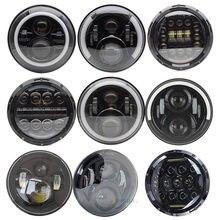 1 paire de phares de voiture, 75W, Led H4 7 pouces, accessoires de voiture, yeux d'ange H4 pour Lada Niva 4X4 Uaz Hunter Hum mer