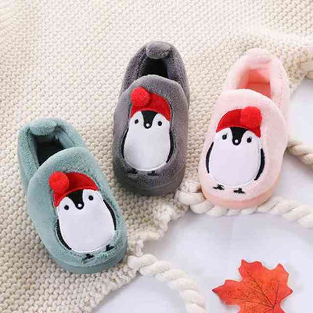 a5e5c08975e Winter Kids Slippers Boys Girls Household Cotton Shoes Cartoon penguin  Floor Bedroom Baby Warm Slippers Children Shoes