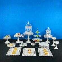 цена Tobs White Cake Stand Round Metal Cupcake Stand Candy bar Dessert Wedding Party Display Macarons Tray Decoration Tools Bake онлайн в 2017 году