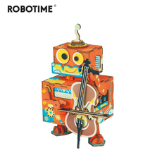 Robotime DIY 3D Little Robot Performer Wooden Puzzle Game Assembly Moveable Music Box Toy Gift for Children Kids Adult AMD53