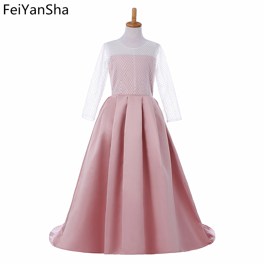 FeiYanSha New Long Sleeve First Communion Dresses O-neck with Bow Sash Flower Girl Dresses Ball Gowns Custom Made Vestidos cute new long sleeves white ball gown flower girl dresses french lace beaded first communion dress with sequin bow and sash