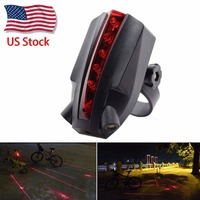 Bike Bicycle 2 Laser LOGO Projector Red Lamps Beam And 5 LED Rear Tail Lights US