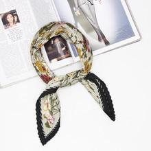 Blooming floral printing pleated fashion women scarf handkerchief shawls wrinkle scarves kerchief  new Foulard Bandana LL190409