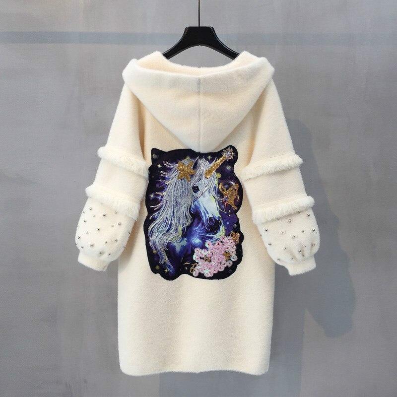 Норки кашемировый свитер Для женщин кардиганы осень зима Средний Длина свитера Топы Высокое качество Кардиган с Кепки и карман