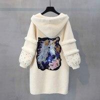 Норковый кашемировый женский свитер, кардиган осень зима средней длины свитера топы высококачественные кардиганы пальто с капюшоном и кар