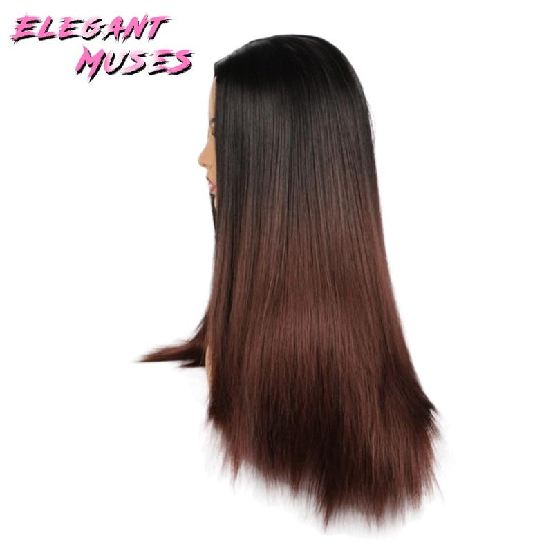 ZARIF MUSES Siyah Kadınlar Için 26 inç Ombre Gri Peruk Uzun Düz - Sentetik Saç - Fotoğraf 5