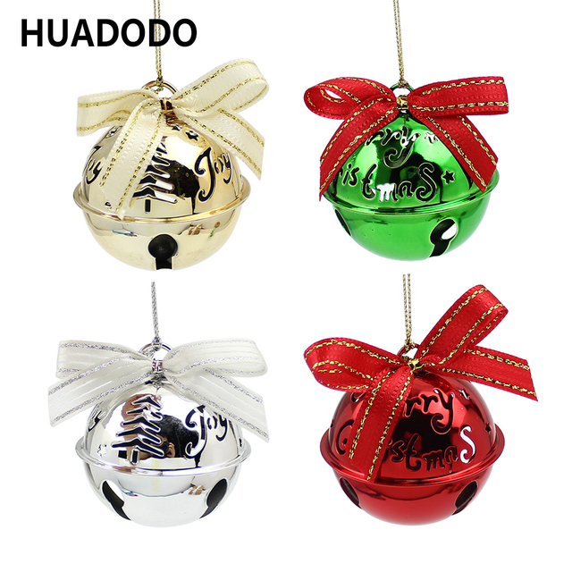 huadodo christmas bells pendants ornaments goldsliver jingle bells for xmas tree christmas party home decorations kids - Christmas Bells Decorations
