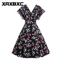 XAXBXC 2017 Jesień Dziewczyna Vestido Patchwork Zebra Stripe Przycisk 1950 s Rocznika Huśtawka Kobiet Koszula Sukienka Wieczorne Party Plus Size