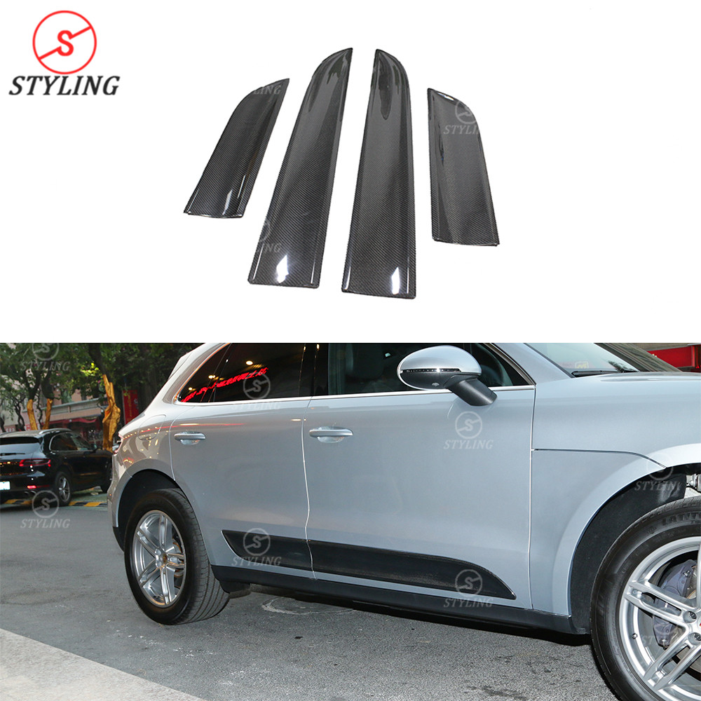 Car Door kit Cover Protection For Porsche Macan Body Kit Carbon Fiber Door Plate Cover Add