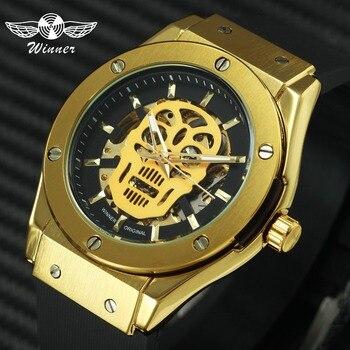 559c54d7f2a7 WINNER moda deportes automático mecánico cráneo hombres relojes marca  superior de lujo dorado esqueleto Dial goma Correa Punk reloj de pulsera
