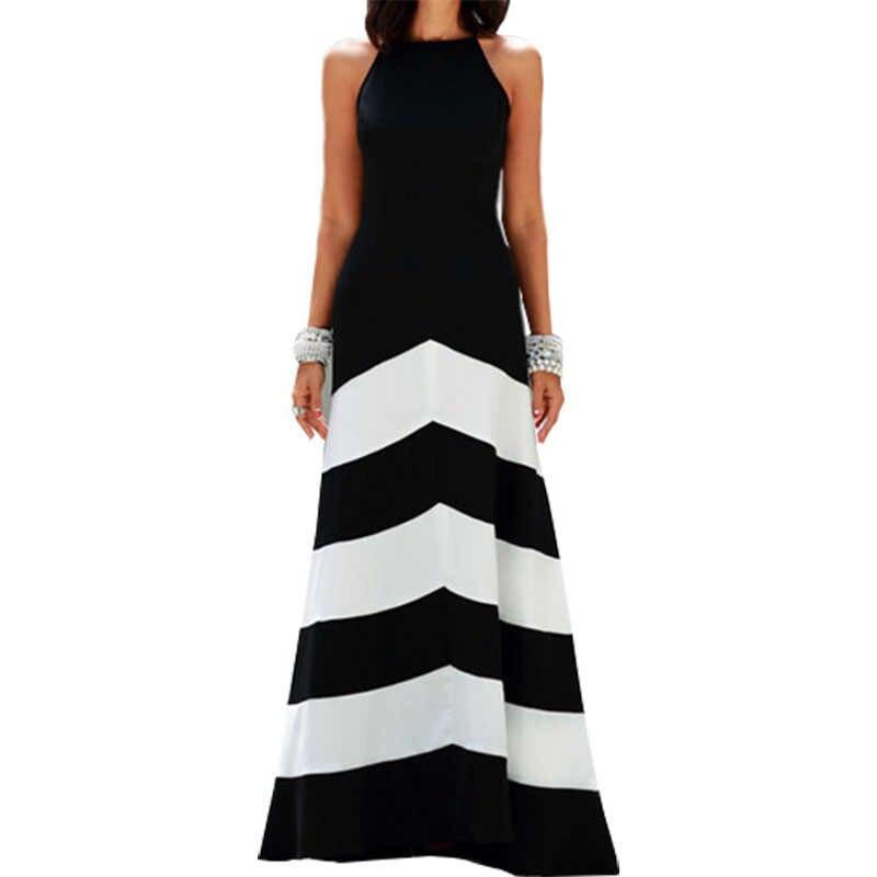 Europe amérique gilet femmes robe vent noir blanc rayures couture sans manches Slim Sexy longues robes vêtements Vestidos LBD0825