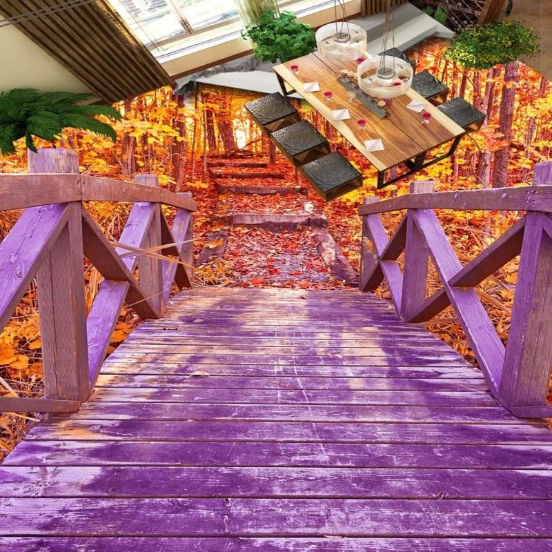 Free Shipping Aesthetic Wooden Bridge Autumn Forest Bathroom 3D ...