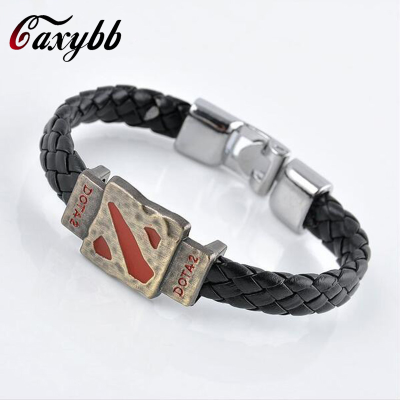 Gaxybb Vintage style Jewelry New Online Fashion Game Defend Old Dota 2 Turret Alloy Bracelet Leather Bracelet