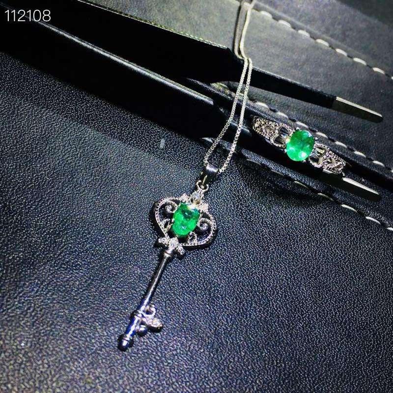 Mooie Uitholling Key crown S925 zilver natuurlijke groene smaragd edelsteen ring Hanger natuurlijke edelsteen sieraden set vrouw party gift - 2