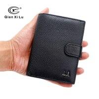 Famosa marca grande plegable viaje pasaporte auténtico cuero real cartera ranuras de tarjeta de crédito ID bolsa de la moneda del monedero